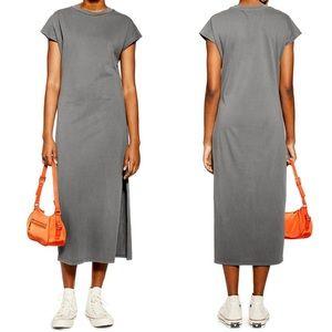 Topshop acid wash midi t-shirt dress comfort gray